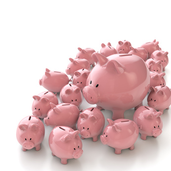 big piggy bank surrounded by little piggies